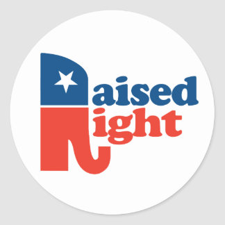 A la derecha criado - favorable republicano pegatina redonda