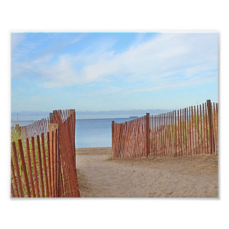 A la impresión de la foto de la playa cojinete
