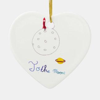 A la luna adorno de cerámica en forma de corazón