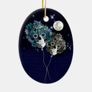 A la luna globos del cráneo del cielo nocturno ornamento de navidad