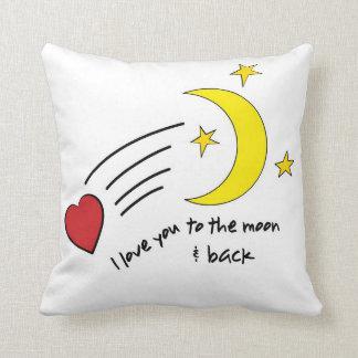A la luna y a la parte posterior almohada
