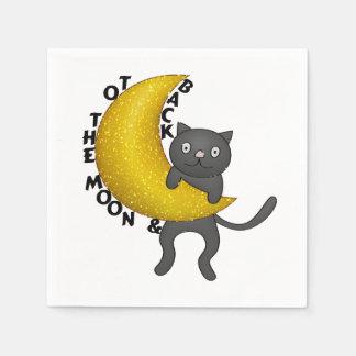 A la luna y al gato trasero del gatito servilleta desechable
