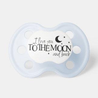 A la luna y al pacificador trasero del bebé chupete de bebé