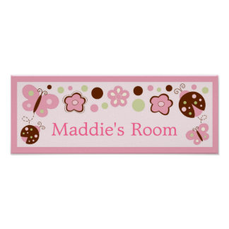 A La Mode Ladybug Butterfly Room Door Sign Poster
