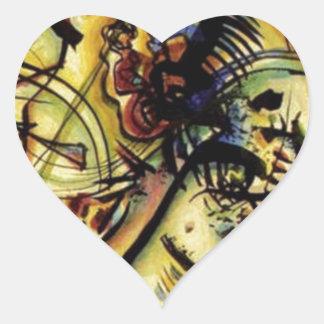 A la voz desconocida por Kandinsky Pegatina En Forma De Corazón