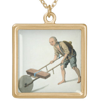 A Labourer, plate 27 from 'The Costume of China', Gold Plated Necklace
