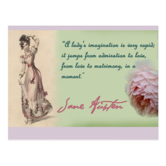 A Ladies Imagination, Jane Austen quote Postcard