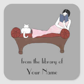 A Lady, A Cat and A Very Good Book Bookplates Stickers