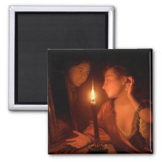 A Lady Admiring An Earring by Candlelight Magnet