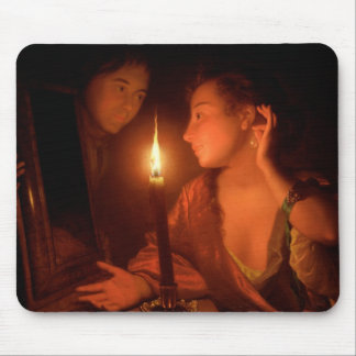 A Lady Admiring An Earring by Candlelight Mouse Pad