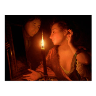 A Lady Admiring An Earring by Candlelight Postcard