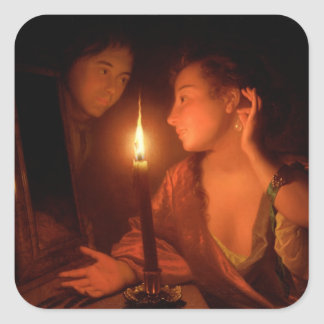 A Lady Admiring An Earring by Candlelight Square Sticker