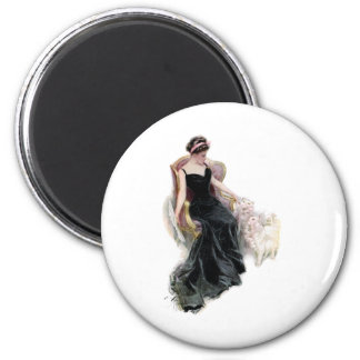 A Lady and Her Cats 2 Inch Round Magnet