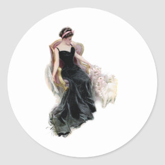 A Lady and Her Cats Classic Round Sticker