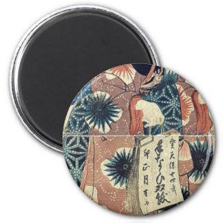 A  lady carrying a calendar by Utagawa,Kunisada Refrigerator Magnet