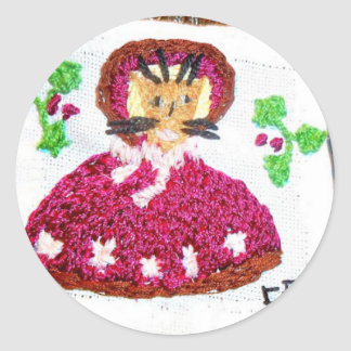 A Lady Cat on a Christmas Visit Classic Round Sticker