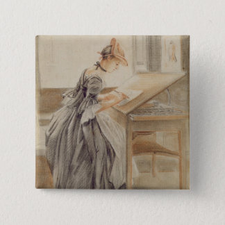 A Lady Copying at a Drawing Table, c.1760-70 (grap Pinback Button