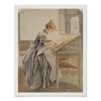 A Lady Copying at a Drawing Table, c.1760-70 (grap Poster
