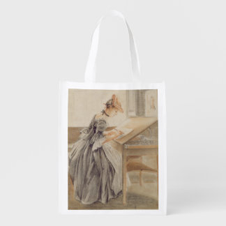 A Lady Copying at a Drawing Table, c.1760-70 (grap Reusable Grocery Bag