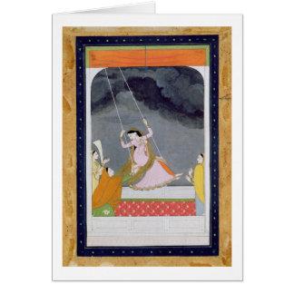 A lady on a swing, Kangra, Punjab hills c.1790 (op Card