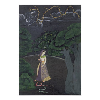 A lady on her way to a tryst, Guler, c.1760 Poster