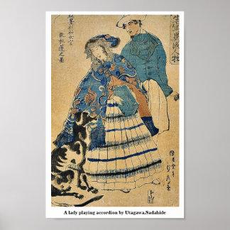A lady playing accordion by Utagawa,Sadahide Print
