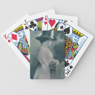 A Lady Ponders Bicycle Playing Cards