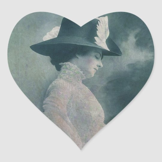 A Lady Ponders Heart Sticker