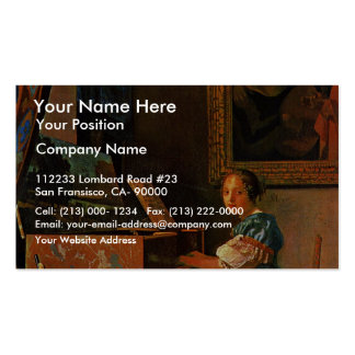 A Lady Seated At A Virginal,  By Vermeer Van Delft Double-Sided Standard Business Cards (Pack Of 100)