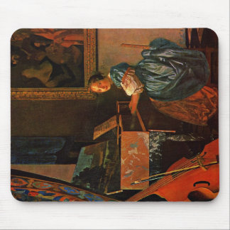 A Lady Seated At A Virginal,  By Vermeer Van Delft Mouse Pad