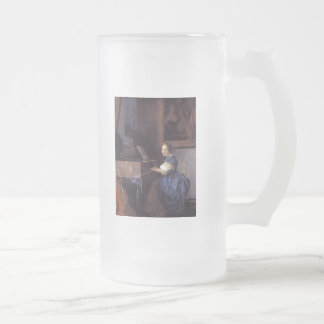 A Lady Seated at the Virginal Frosted Glass Beer Mug