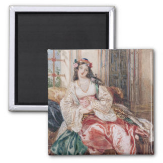 A Lady Seated in an Ottoman Interior Wearing Turki 2 Inch Square Magnet