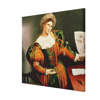A Lady with a Drawing of Lucretia, c.1530-33 Canvas Print