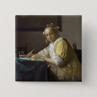 A Lady Writing, c. 1665 (oil on canvas) Pinback Button