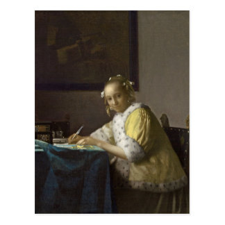 A Lady Writing, c. 1665 (oil on canvas) Postcard