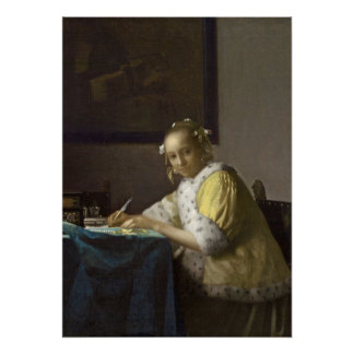 A Lady Writing, c. 1665 (oil on canvas) Posters
