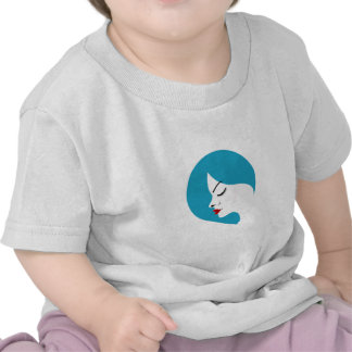 A lady's face in a blue placement shirt