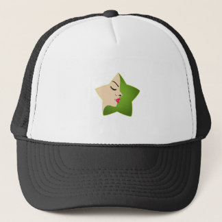 A lady's face in a flower trucker hat