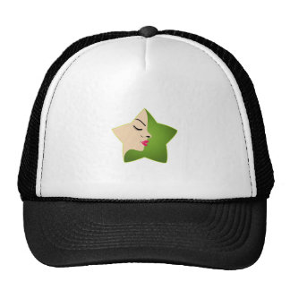 A lady's face in a flower trucker hat