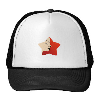 A lady's face in a red flower trucker hat