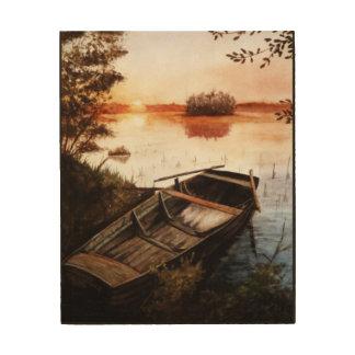 A Lake at Sunset Wood Wall Art