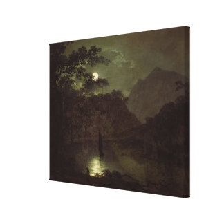 A Lake by Moonlight, c.1780-82 (oil on canvas) Canvas Print