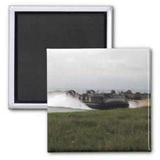 A landing craft air cushion comes ashore magnet