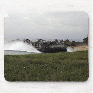 A landing craft air cushion comes ashore mouse pad