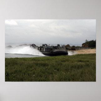 A landing craft air cushion comes ashore poster