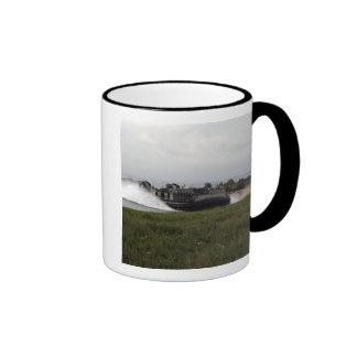 A landing craft air cushion comes ashore ringer mug