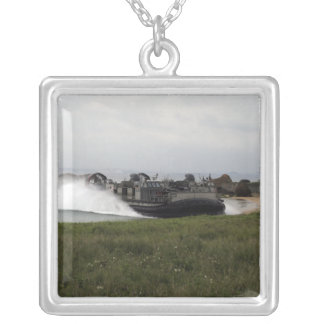 A landing craft air cushion comes ashore silver plated necklace