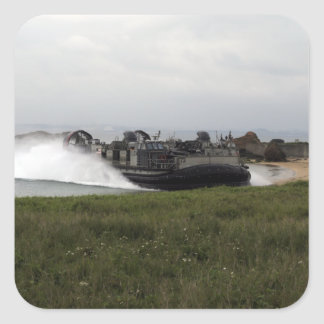 A landing craft air cushion comes ashore square sticker