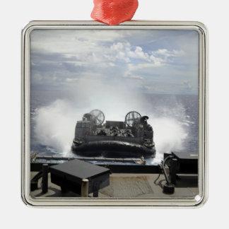 A landing craft air cushion square metal christmas ornament