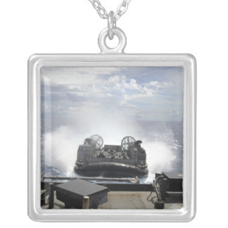 A landing craft air cushion square pendant necklace